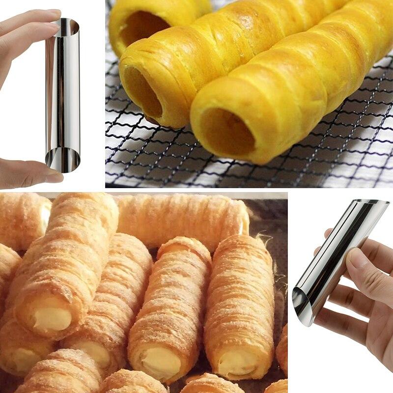 3pcs 2.8x12.5cm Stainless Steel Non-stick Pipe Bread Danish Tube Pastry Dessert Baking Mold  steel casing pipe