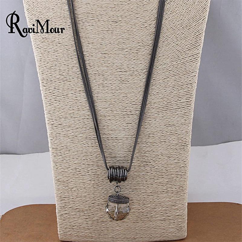 RAVIMOUR Long Necklace Black Chain Drop s