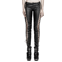 2018 Fashion Punk Bingding Side Pants PU Tight Side Slinky Straps Mesh Trousers Leather Pocket Low Waist Party Lady