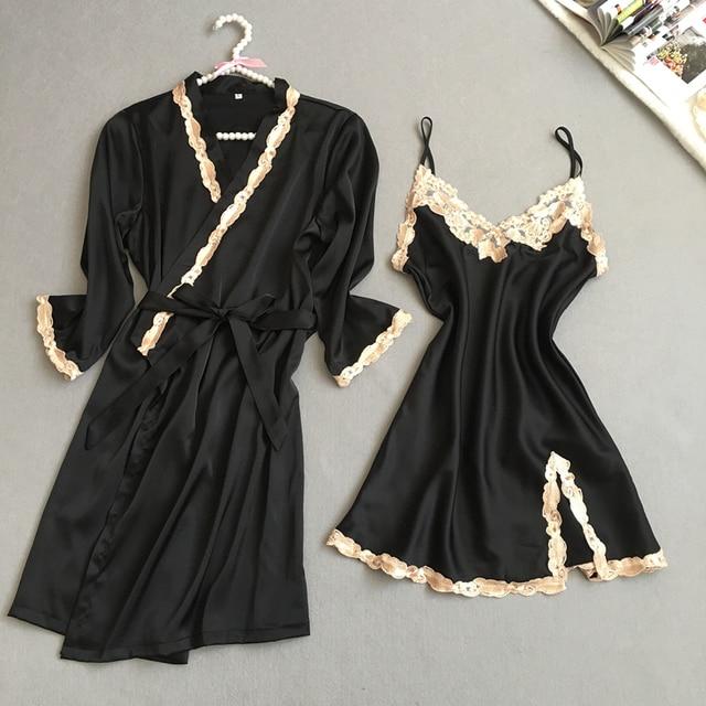 New Arrival Ladies Sexy Silk Satin Robe Gown Set Lace Bath Robe Set Summer Sleepwear Set Fashion Bathrobe&Nightdress For Women