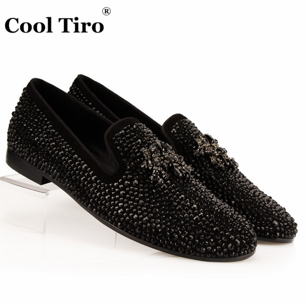 Black Suede Rhinestone Men Loafers Crystals Tassel Slippers Smoking Slip on Black Dress Shoes Shoes Men