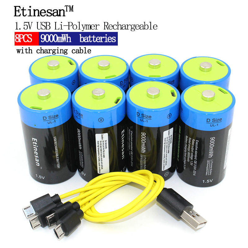 Etinesan 8pcs 1.5V 6000mAh Li-polymer Rechargeable D size Battery Li-ion powerful USB Battery with USB chargeing line Toys