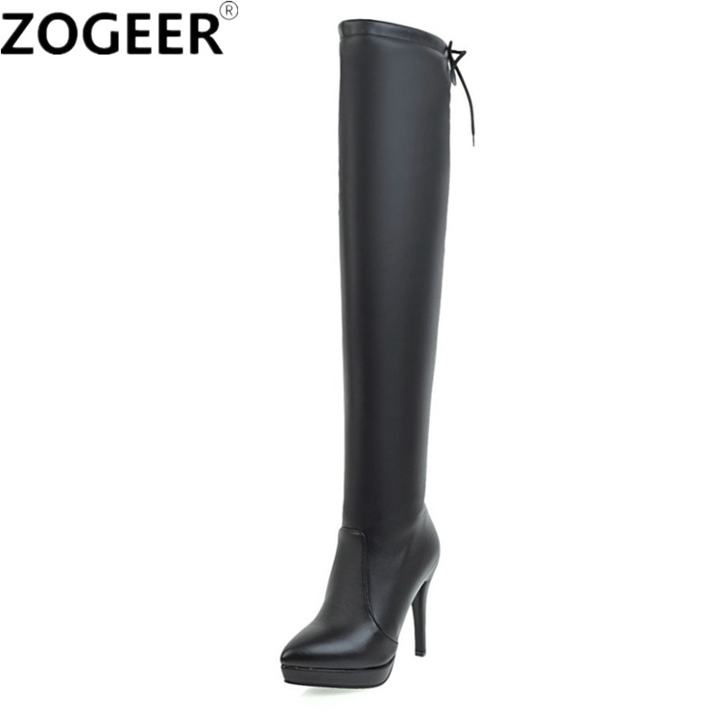 f6ab7c9c0af Fashion PU leather Over the Knee Boots Sexy High Heel Thigh high Boots  Platform Party Night