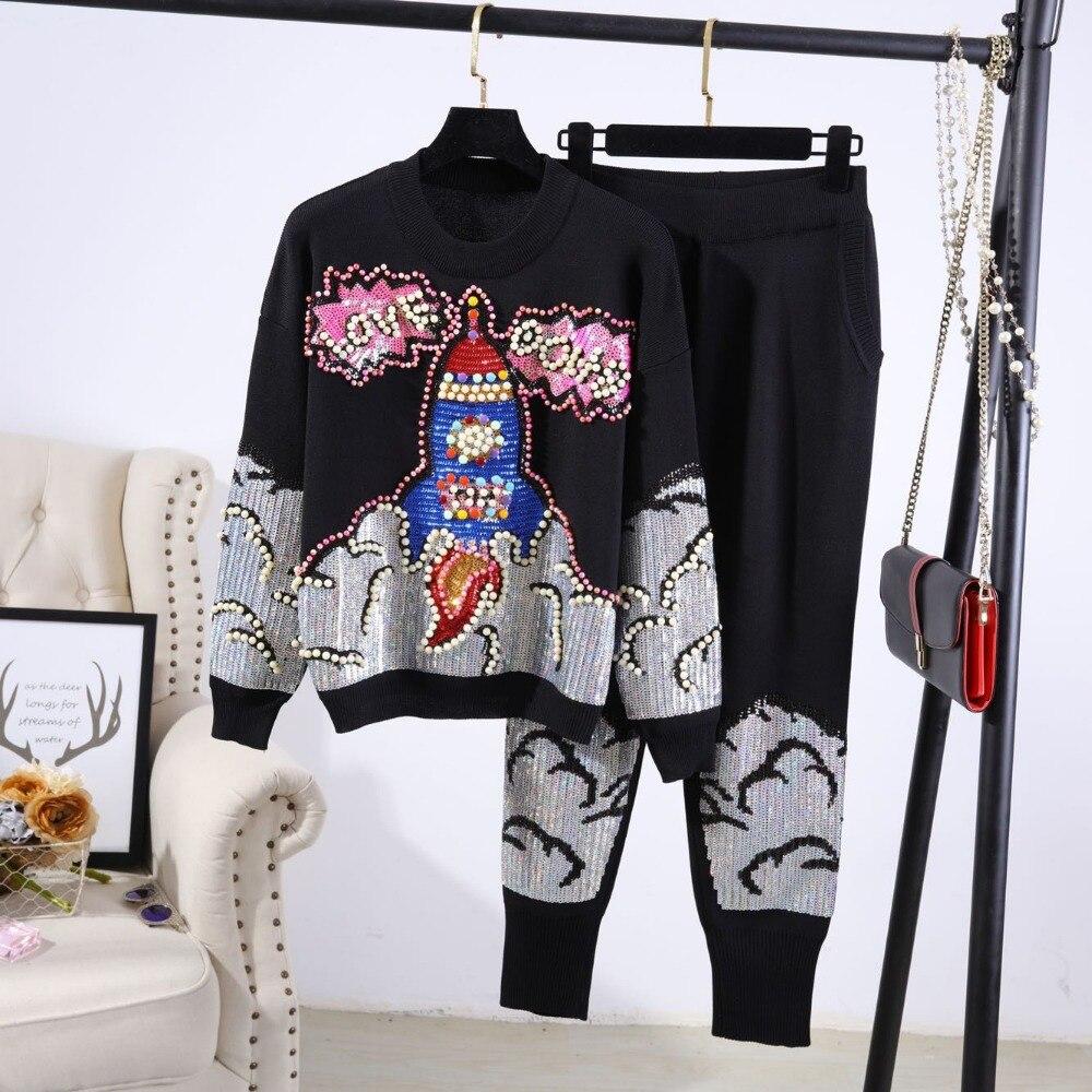 b6c95ce3d 2018 Autumn Womans Sweater + Pant Sets Solid Color Female Embroidery ...