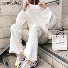 SINRGAN Зимние топы Водолазка женский пуловер вязаный свитер Свободный вязаный женский белый свитер