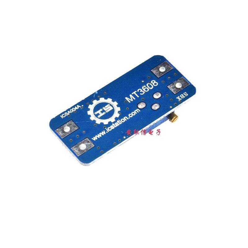 Купить с кэшбэком 5pcs/lot MT3608 DC-DC Adjustable Boost Module 2A Boost Plate 2A Step Up Module with USB 2V - 24V to 5V 9V 12V 28V LM2577