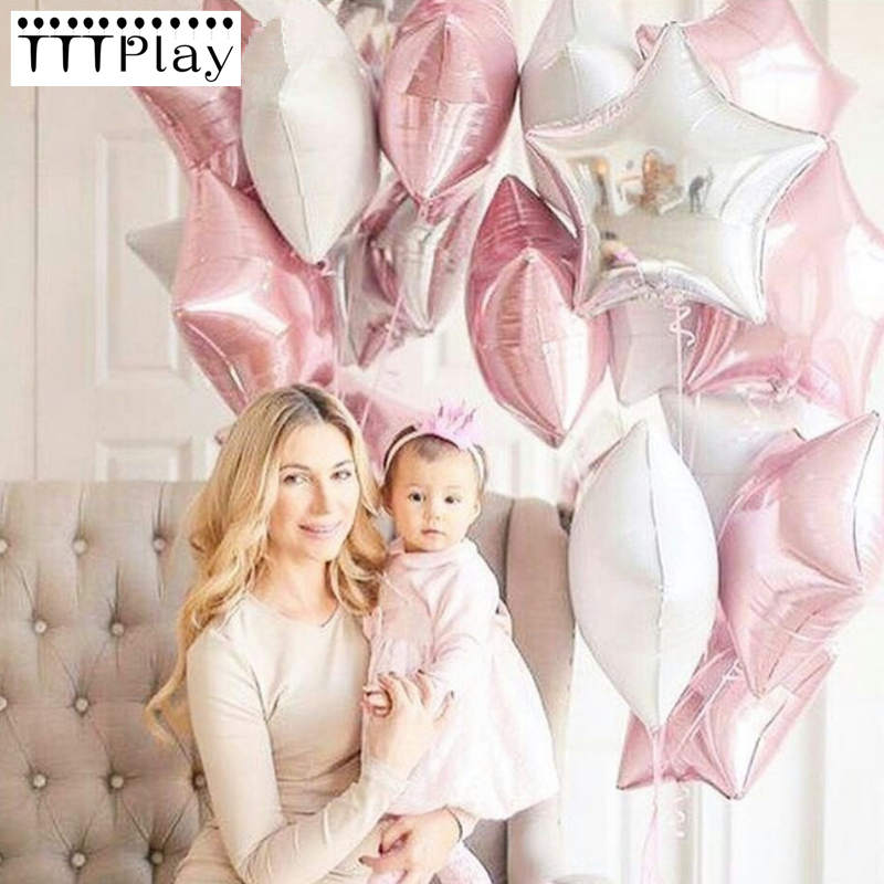 10pcs Baby Shower 18 inch Pink White Sliver Star Helium Foil Balloons Girls Birthday 1st Party Supplies Decor Pure Color Globos