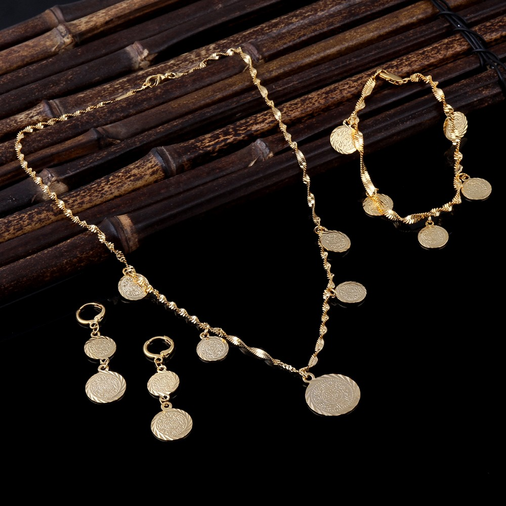 Sky talent bao Bracelet Necklace Earrings set Islamic Muslim Arab Coin Money Sign Women24k Gold GF Filled Middle EasternAfrica цена