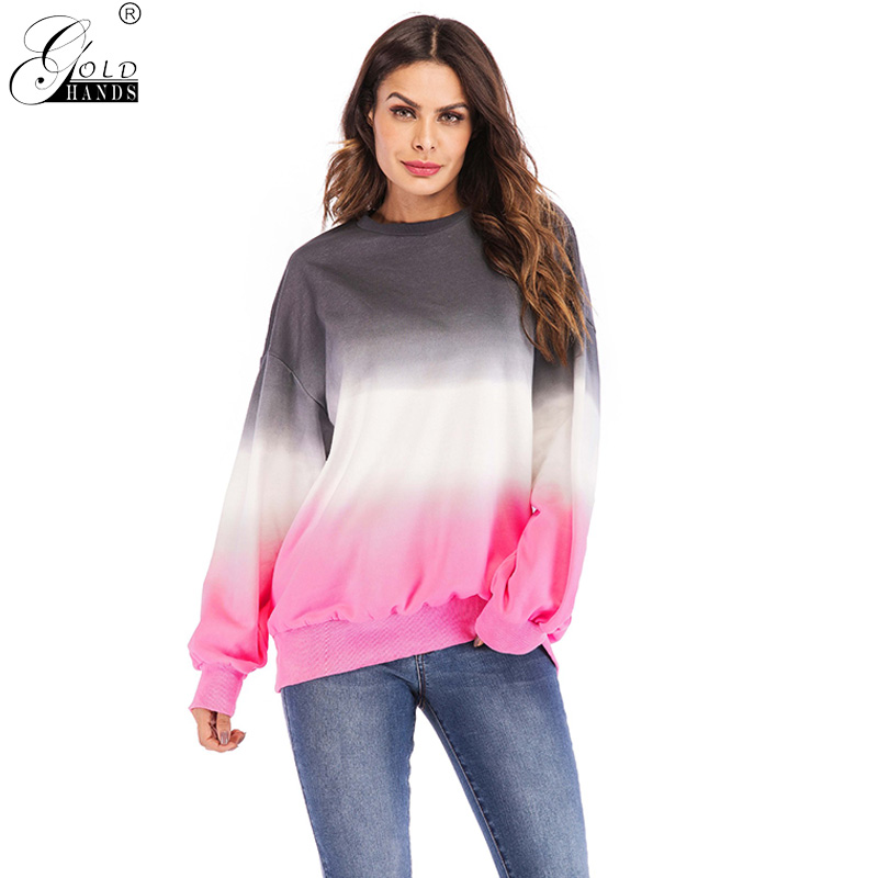 Gold Hands Streetwear Office Lady Pullovers Patchwork Colors Casual Loose Solid Autumn Women Hoodies Plus Size Free Shipping