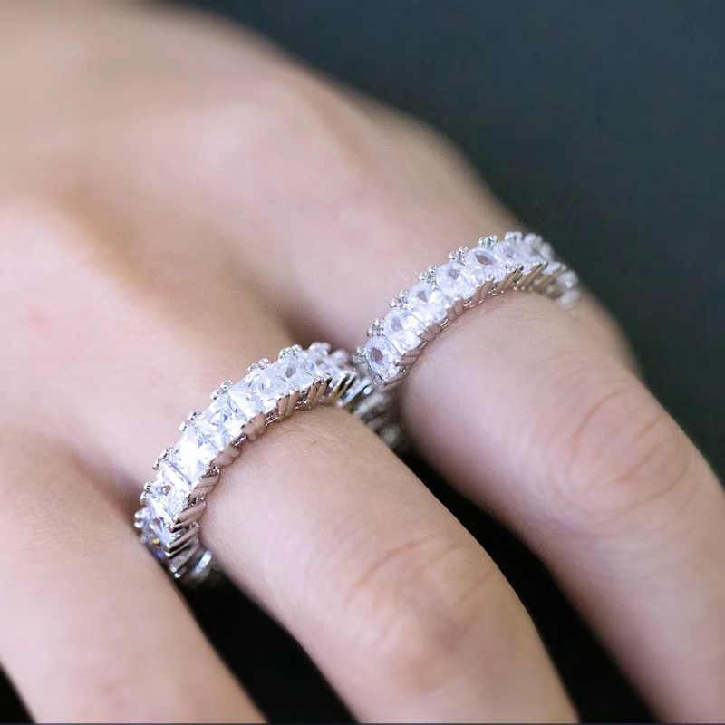 Nova moda aaa zircão cúbico gelo anel solitaire tênis ouro prata charme masculino hip hop jóias anel diy presente de aniversário