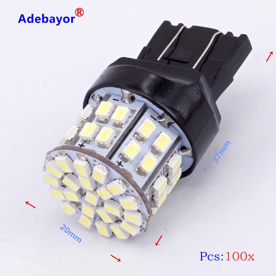 100 шт. фонаря сигнала торможения Bulbs7443 W21/5 Вт T20 3020 50 светодиодный 1206 SMD 7440, двойная интенсивность башня задние стоп-сигнал заднего хода лампы белого цвета