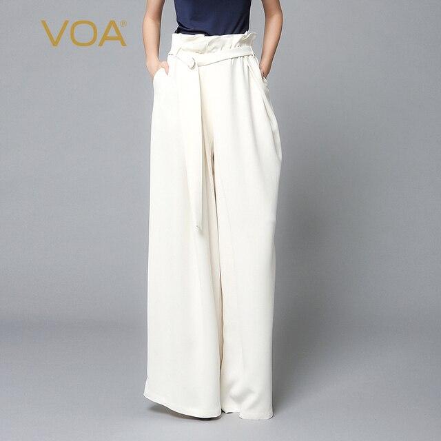 Exceptionnel VOA Blanc Taille Haute Grande Taille Bureau Dames Solide Soie Pantalon  Large Femmes Maxi Long Pantalon