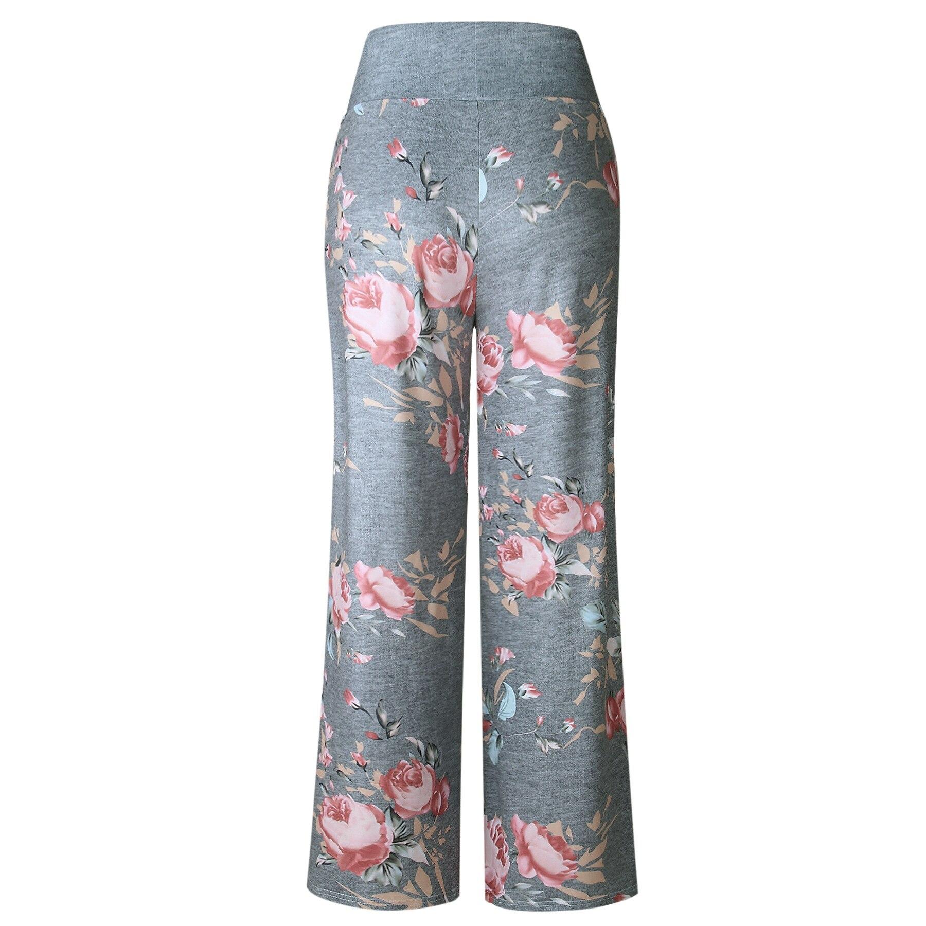 2018 Summer Loose Print Pink Flower Floral Harem Pants Capri Bottoms