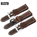 Istrap new fashion dark brown 24mm pulseira de couro genuíno italiano watch strap banda substituição para panerai assolutamente