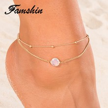 FAMSHIN Boho Opal Anklet For Woman Foot Chain Summer Fashion Silver Color Multi Layer Anklets Bracelet Charm Foot Jewelry Gift(China)