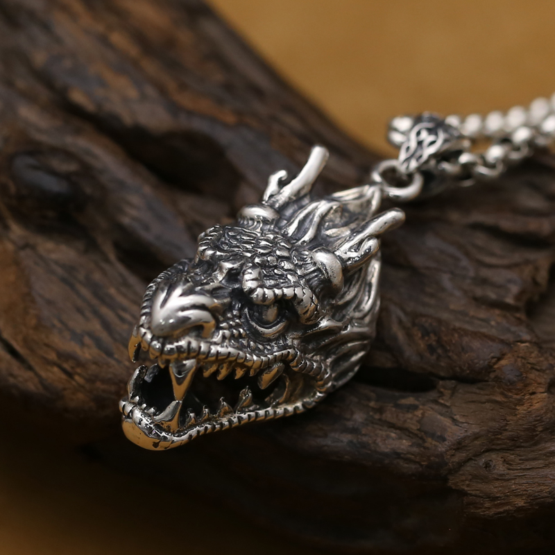 Handmade 925 silver dragon pendant vintage thai silver dragon head man pendant punk jewelry necklace pendant 925 sterling silver necklace male thai silver retro palace original handmade fashion domineering dragon scales necklace jewelry