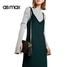 asmax Chic Women Sweater Dress Sexy Green Side Split V Neck Sleeveless Dresses Casual Loose Cami Strap Midi Dress Vestidos