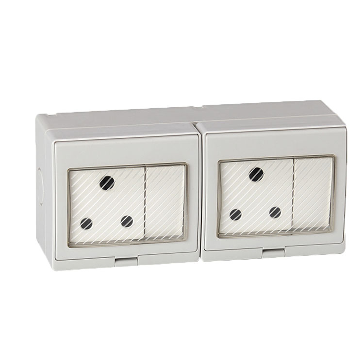 Free Shipping IP55 Waterproof 2 Gang Switch and 2 South Africa Socket DS-2SAS south africa argentina