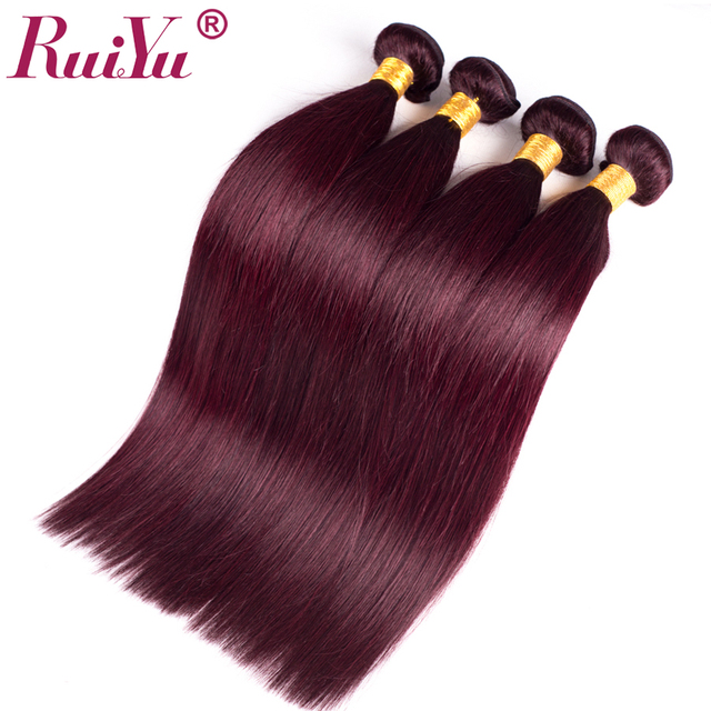 RUIYU Burgundy Brazilian Hair Weave Bundles Straight Human Hair Extensions 99J Red Hair Bundles Non Remy Hair Thick Weft 1Pc