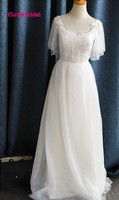 Bestelling gemaakt betaalbare korte mouwen zomer jurken strand bruiloft flow tulle eenvoudige strand bohemen gown 2017 goedkope