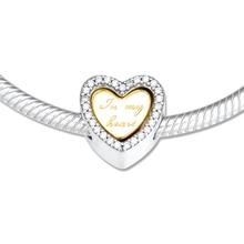 Gerçek 925 ayar gümüş boncuk parlaklık benim kalp Charm Pandora bilezik kadınlar takı berloques prata 925 moda takı