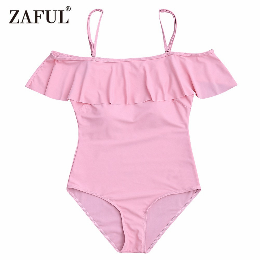 Zaful 2017 Women New Ruffles Off The Shoulder One-Piece Swimwear Sexy Mid Waisted Solid Color One Piece Swimsuit Bathing Suit