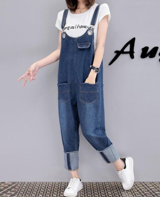 e5ef64749538 2018 Women Vintage Denim Jumpsuits Cotton Strap Rompers Trousers Loose Plus  size fat MM Casual jean Overalls Pants Female w875