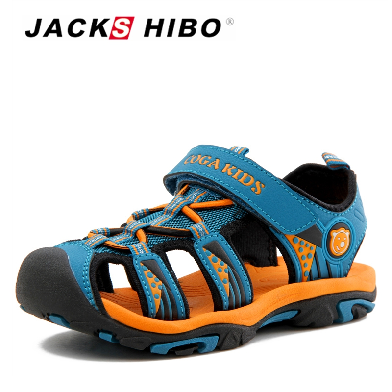 JACKSHIBO Kid Sandals Summer Beach Boy Sandals For Children Sandals Close Toe Anti-skid Cut-outs Outdoor Water Boys Shoes