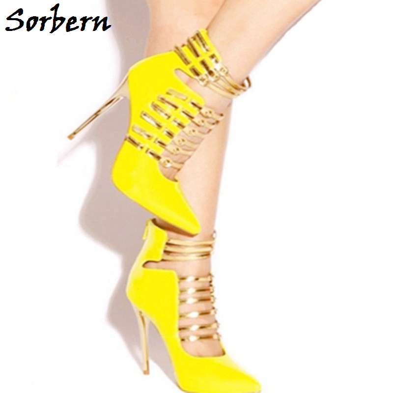 Sorbern Yellow Women Pumps High Heels Shoes Buckle Strap Handmade Party Shoes Pointed Toe Plus Size 34-48 Fashion 2018