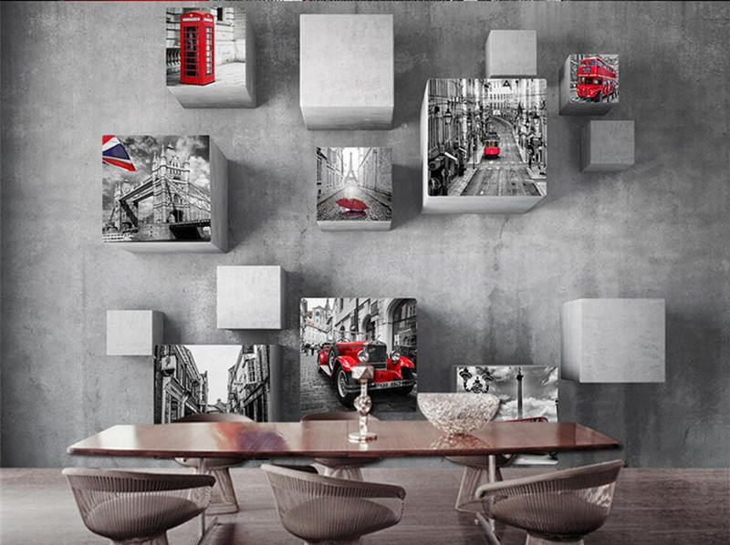 Retro European Style Wallpaper Mural 3d Stereo Cubes London Street View for Living Room Sofa Backdrop Wall Decor Custom Any Size european style murals ktv bar cafe personalized wallpaper abstract wallpaper living room sofa arts wallpaper mural