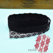 Cheap!10yards/Lot black lace trim 26mm wide white cotton fabric DIY embroidered Sewing clothing dress Home decoration kant