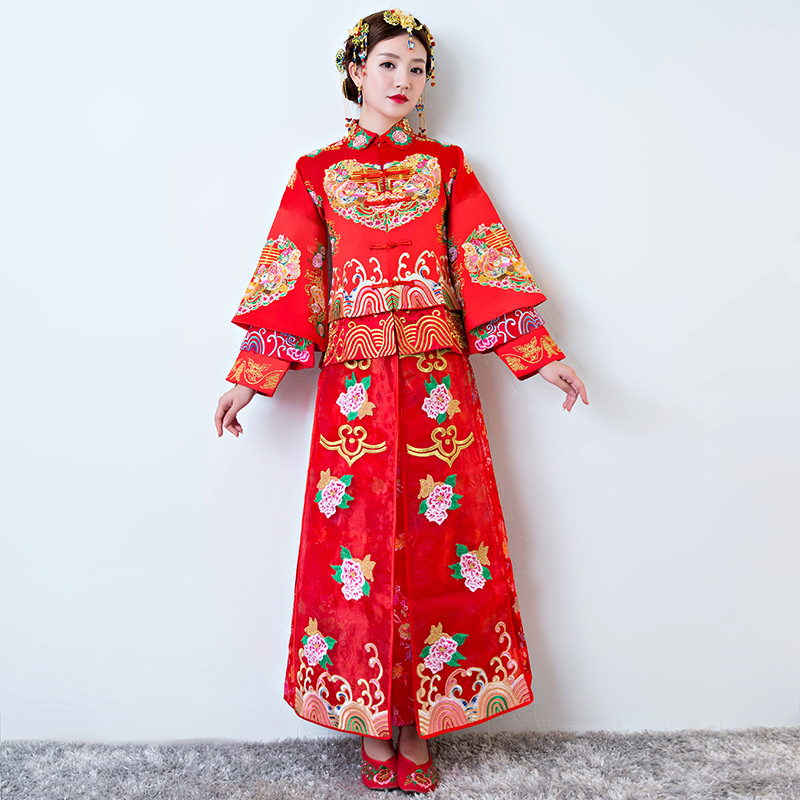Oriental Vintage Vestidos Formales Red Bride Qipao flower Embroidery Woman Traditional Chinese Wedding Gown Women Cheongsam