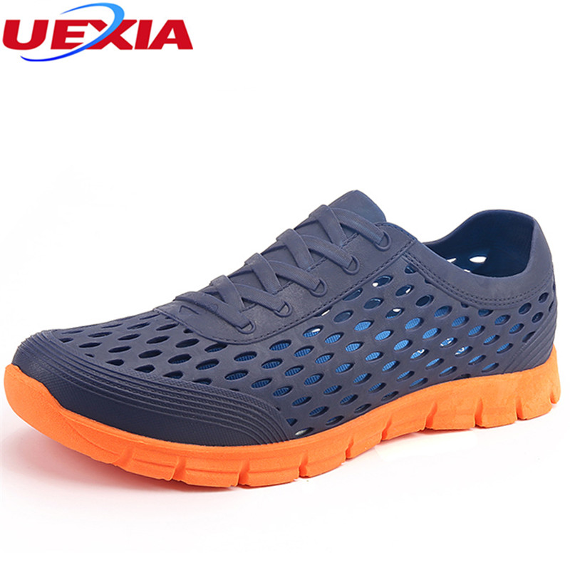 UEXIA Men's Sandals Summer Jelly EVA Hollow Man Slippers Garden Shoes Fashion Breathable Beach Lighted Flip Flops Flats Water цена