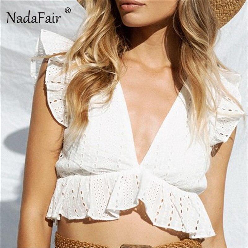 Nadafair Vintage V צוואר לבן קצוץ חולצות נשים סקסי מסיבת חוף מועדון גופייה קצר לפרוע שרוול חלול החוצה תחרה למעלה קיץ