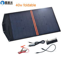 Xinpuguang Solar Panel Cell Charger 40W 18V 20W*2 Foldable Portable Charger 5V USB Output for Smartphone Pad Tablets Waterproof gbtiger 40w usb dc output solar panel foldable solar charger waterproof foldable emergency bag for laptop smartphone