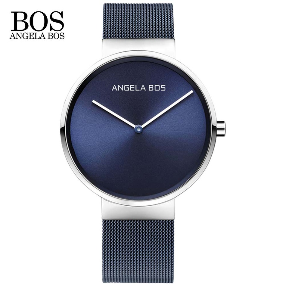 ANGELA BOS Ultra Thin Simple Nordic Design Watch Men Sapphire Weave Stainless Steel Waterproof Mens Watches