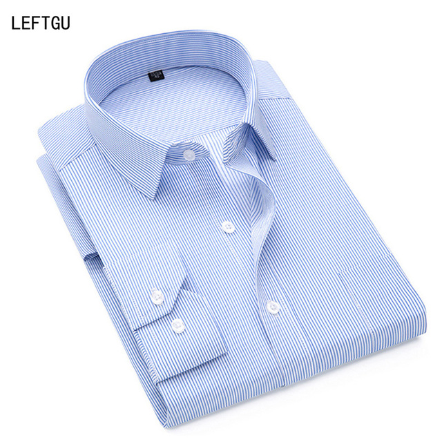 858430f4295 Men s Shirts 2018 Fashion Long sleeve Business Striped Dress shirt male  Plus size purple light blue white Formal camisas