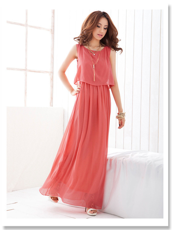 2018 Brand Women Boho Maxi Dress Chiffon Sleeveless Summer vestidos Beach Casual Maxi Dress Long Dress Top Party Sundress S-XXXL (3)
