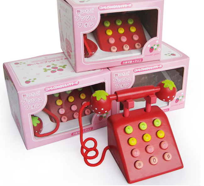 New wooden toy Simulation telephone Red color wood toy Free shipping in Furniture Toys from Toys Hobbies