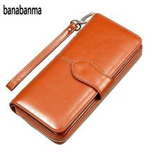 Фотография Banabanma Women Wallet  Lady Party PU Leather Purse Wallet Female Wax Oil Skin Long Zipper Wallet Bills Cion Purse  ZK30