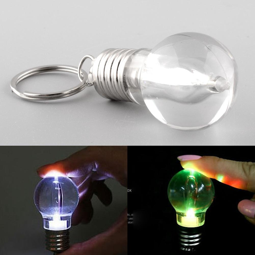 Lamp Key Xmas Mini Lights Flash LED Keychain Bulb Torch Silver Bright