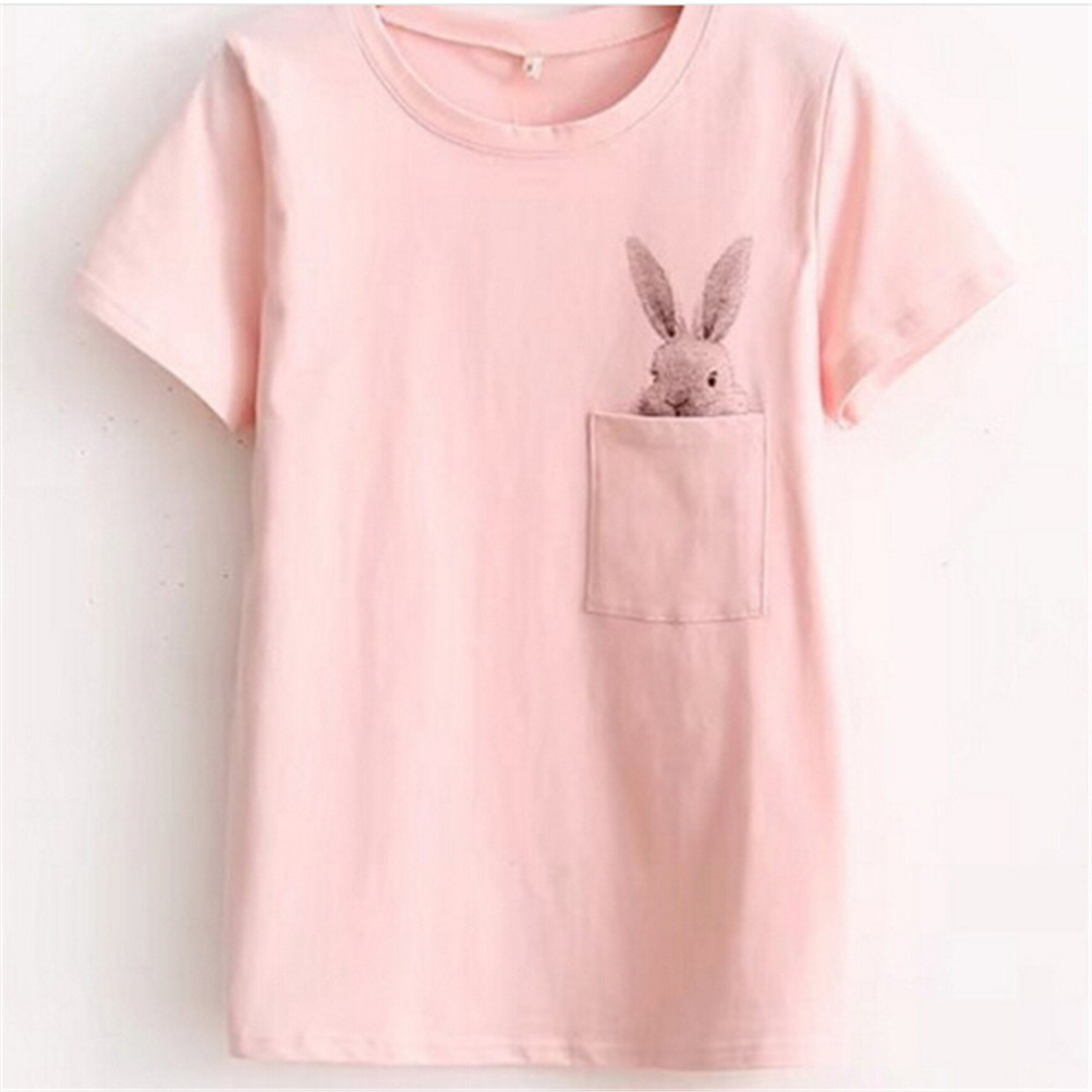 T-shirt Women Lady Top Cotton Summer Female T-shirt Clothing Printed Pocket Rabbit Top Cute T-shirts For Women