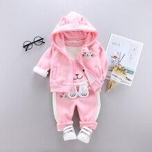 Комплект зимней детской одежды из 3 предметов с милым котом для новорожденных, плотная теплая одежда с хлопковой подкладкой для мальчиков и девочек, жилет с капюшоном + Топы + штаны
