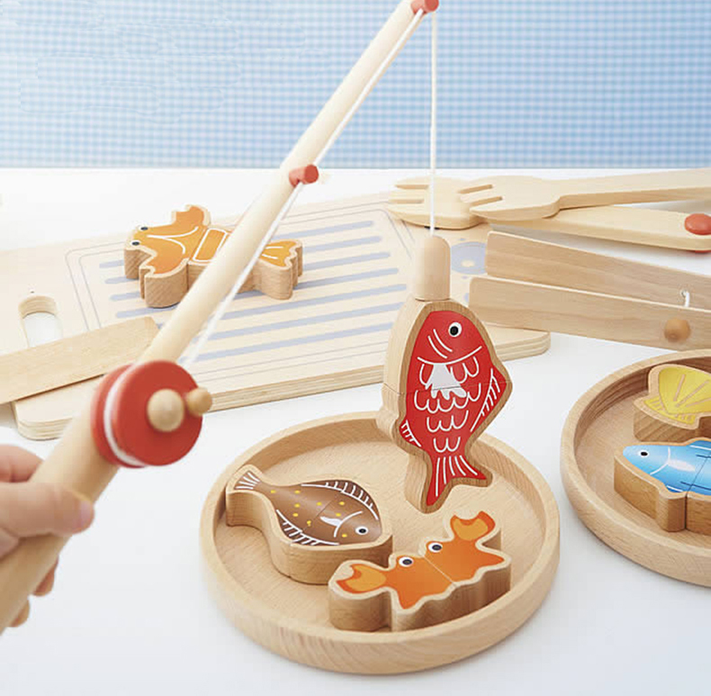 MamimamiHome Baby Beech Wooden Kitchen Toys Children's Magnetic Fishing Toy Role Play Family Fishing Game Kitchen Toys