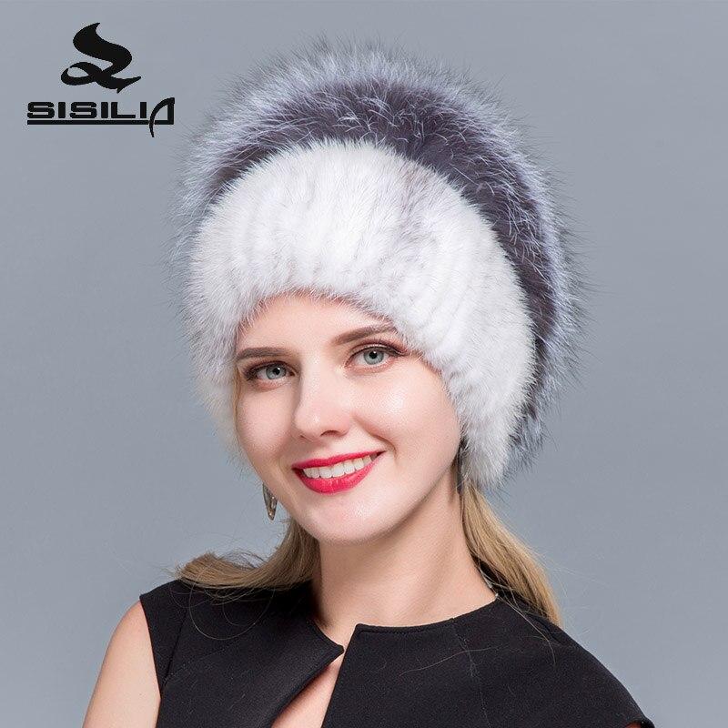 ... 2018 Winter Fashion New Women s mink fur Hats With Fox Fur Hat Pom Poms Winter  Hats ... faeffca03e8b