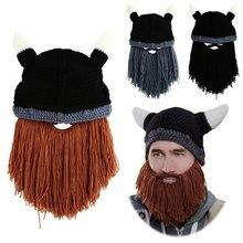 Winter Men's Beard Hat Warm Barbarian Looter Knit Crochet Beanie Cap masks bonnet gorros Vagabond Mustache Y1
