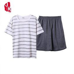 dd01883bd4c34 الصيف الرجال منامة مجموعة القطن النوم قميص و السراويل دعوى الذكور مثير  ملابس النوم البدلة homewear