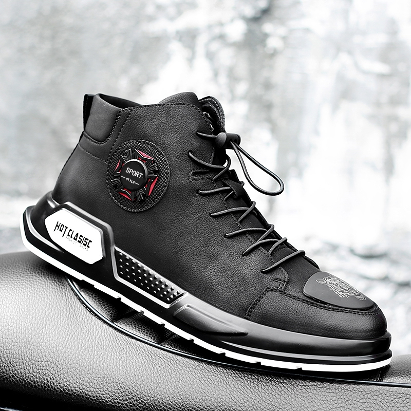 Chaussures pour hommes De Mode Automne véritable chaussures en cuir Pour Homme New High Top à lacets chaussures décontractées Hommes sneakers main chaussures k3