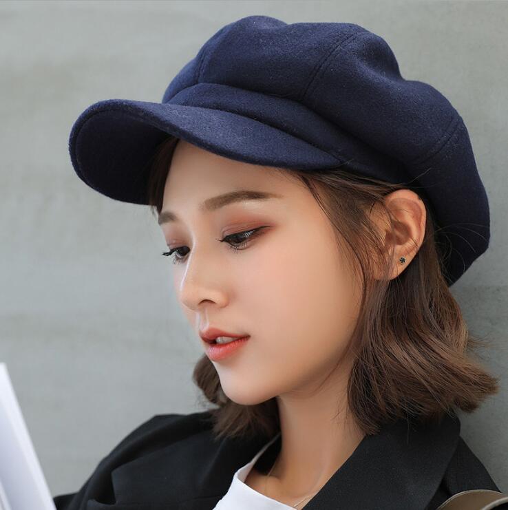 oZyc wool  Women Beret Autumn Winter Octagonal Cap Hats Stylish Artist Painter Newsboy Caps Black Grey Beret Hats 2