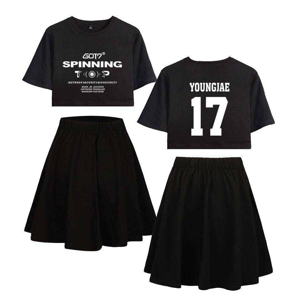 2019 GOT7 Kpop Short Skirt Suit Hot Short Sleeve T-shirt And Short Skirt Suit Two Piece High Quality Casual KPOP GOT7 New Sets